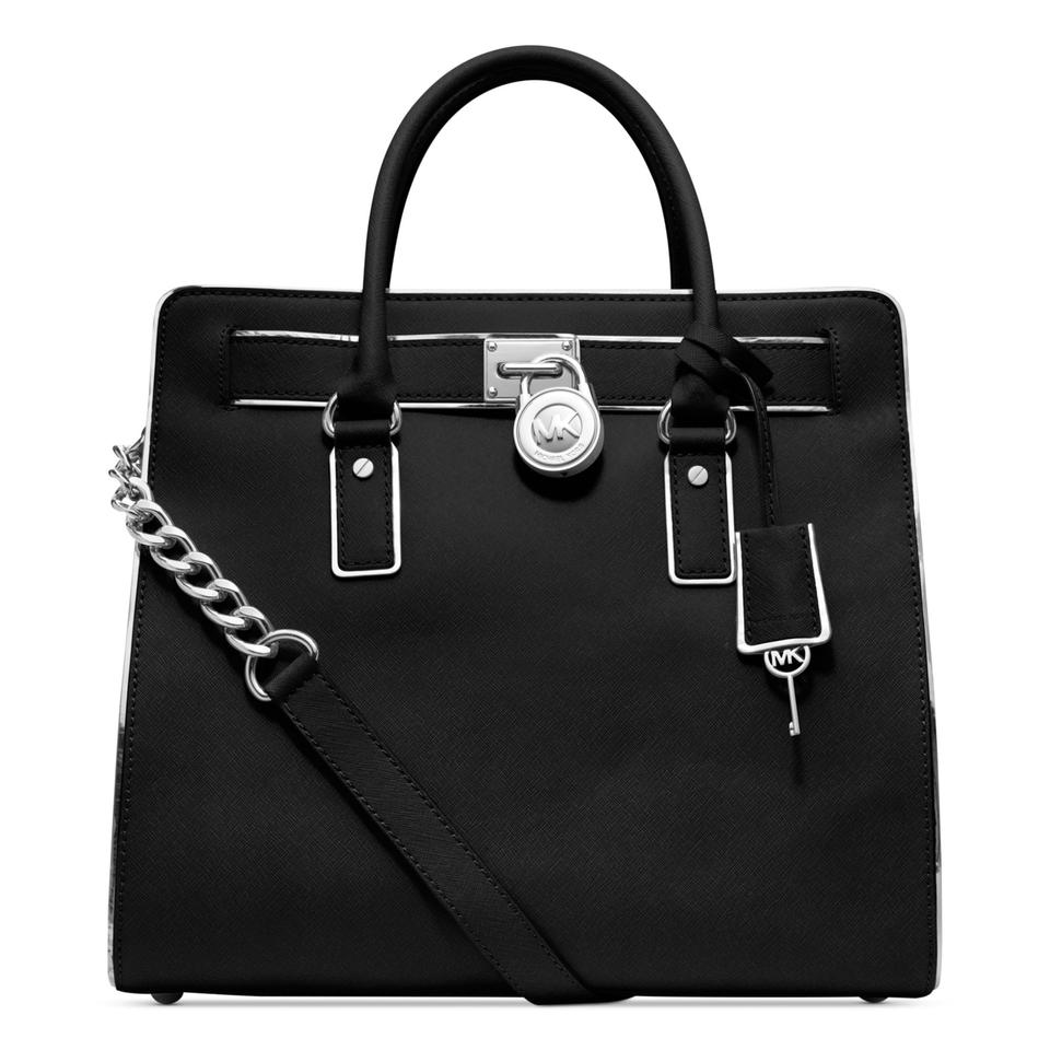 c57155c39875 Michael Kors Hamilton Specchio Ns Saffiano Silver Large Black Leather Tote