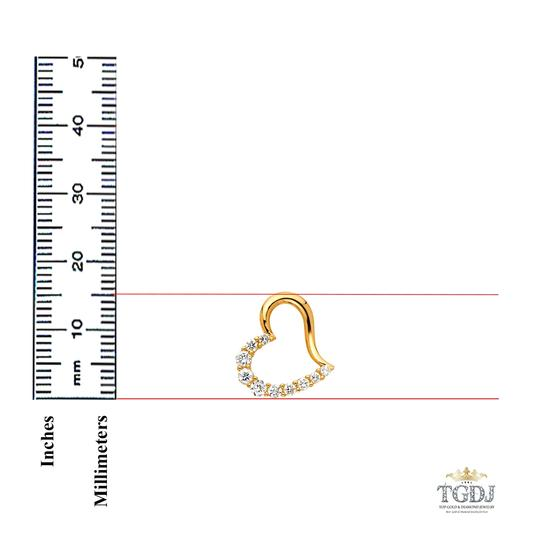 Top Gold & Diamond Jewelry 14K Yellow Gold Journey Open Heart CZ Pendant