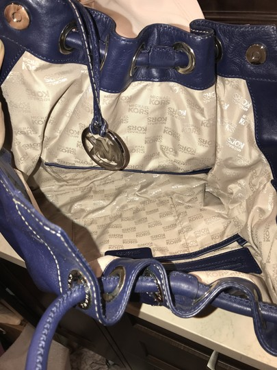Michael Kors Studded Leather Astor Tote in Navy Blue