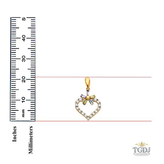 Top Gold & Diamond Jewelry 14K Yellow Gold Heart with Multi-Color CZ Pendant