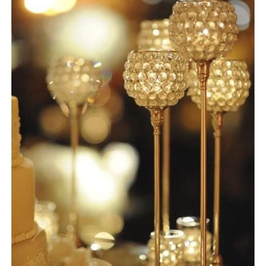 Gold Beaded Crystal Candle Holder Set Centerpiece