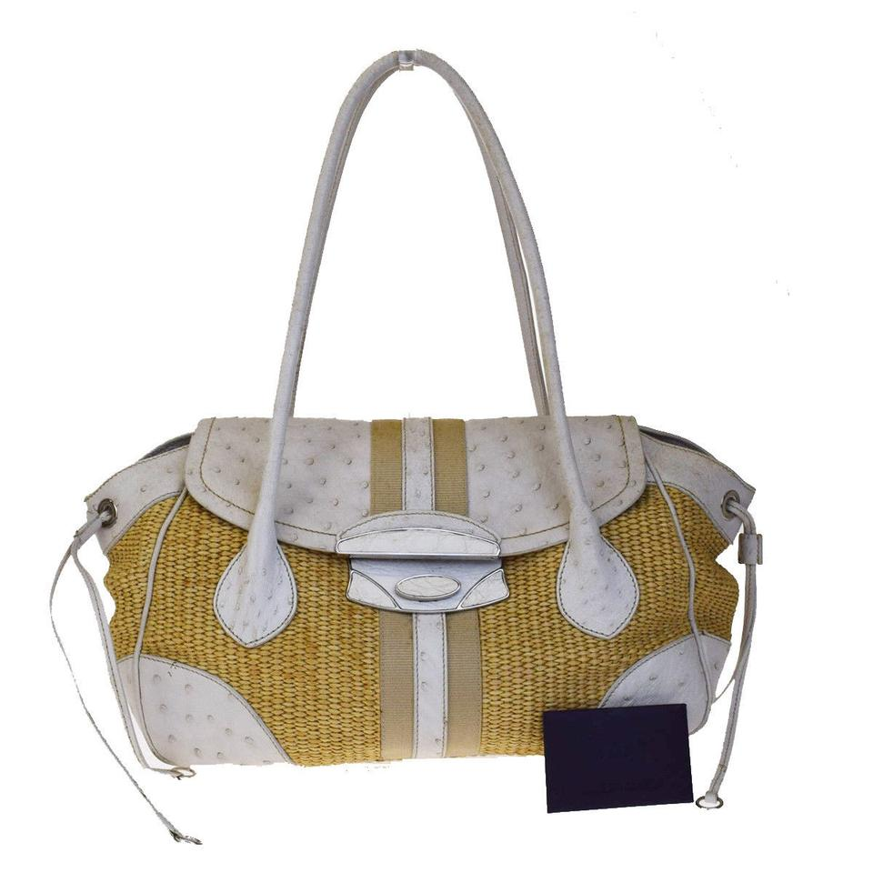 Prada Bag Logos Shoulder Be 04ea271 White Beige Ostrich Skin Leather Straw Tote