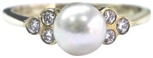 Black Starr & Frost 18Kt Black Star & Frost Pearl Diamond Yellow Gold Anniversary Ring .12