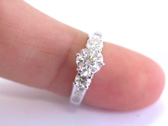 custom Fine Round Diamond Solitaire W Channel Set Accents Engagement Ring 1.2