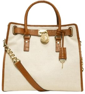 Michael Kors Fabric Satchel Luggage Crocodile Alligator Tote in Ecru Off-White Walnut Brown