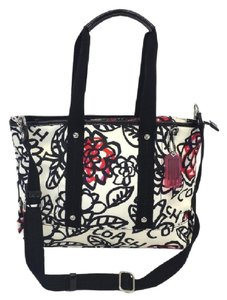 Coach Floral Print Nylon Diaper Tote in Black White Red