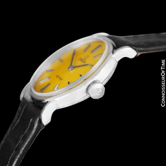 Omega c. 1980 Omega De Ville Vintage Ladies Watch with Goldenrod Yellow Dial
