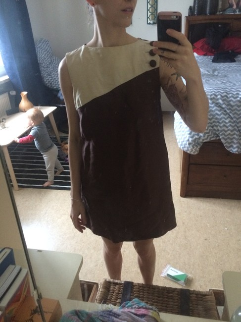 Vintage short dress Brown and tan Shift Summer Autumn on Tradesy