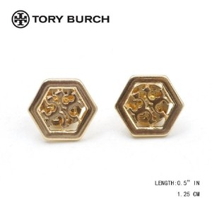 Tory Burch New Tory Burch Shiny Gold Logo Hexagon Stud Earrings
