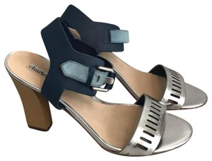 Charles David Metallic Silver and Blue Sandals