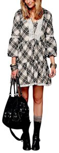 Free People short dress Black/White/Gray/Beige/Plaid Fp New Shapeless Swingy Constantine Bohemian Hippie Wedding Guest Tiered Embroidered on Tradesy