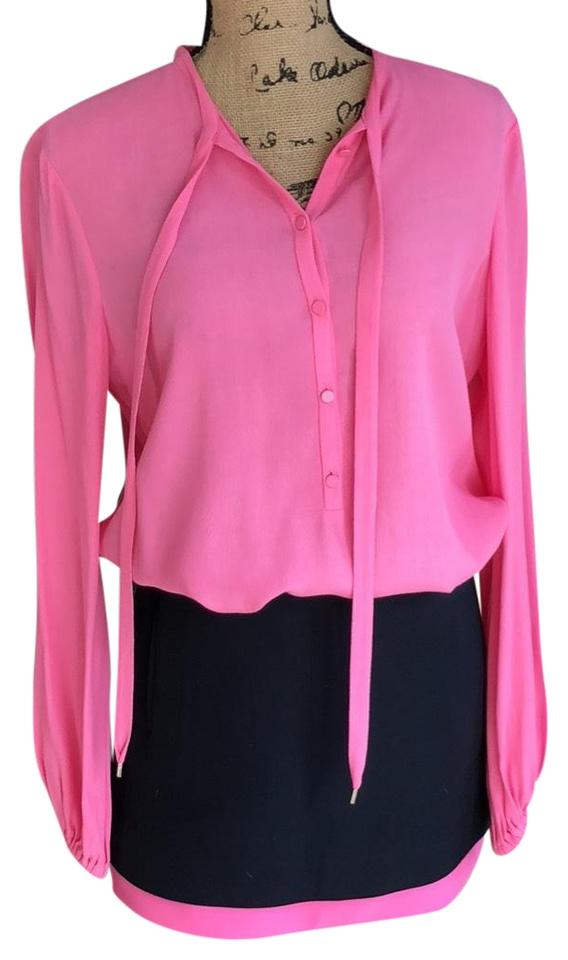 86151564a343e Diane von Furstenberg Pink and Navy Piece Blouse Skirt Short Casual ...