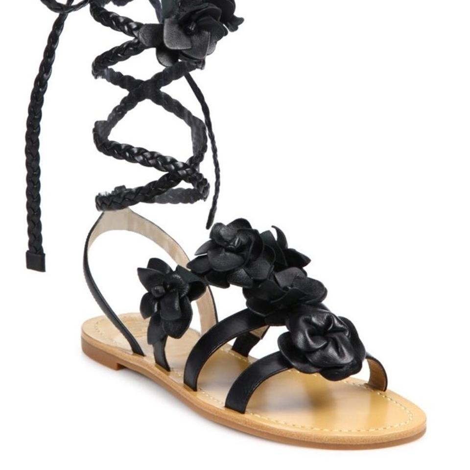 70404eb57685a Tory Burch Black Blossom Gladiator Sandals Size US 9 Regular (M