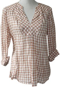Holding Horses Anthropologie Sun Protection Top Brown and Cream Plaid