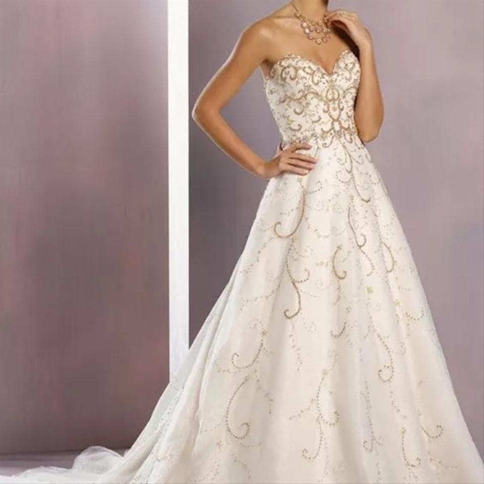 Alfred Angelo White and Gold Tulle Designer Disney Collection ...