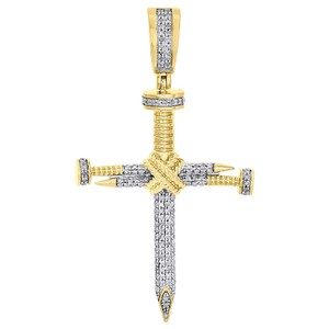 "Jewelry For Less 10K Yellow Gold Nail Cross X Accent Diamond Pendant 1.85"" Charm .38 Ct"