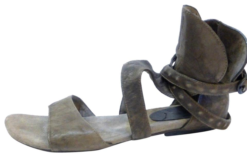 calleen cordero taupe distressed leather brown gladiator w wrap