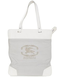 Burberry Shoulder Logo Canvas Leather Tote in white