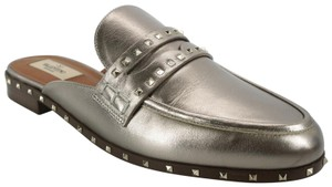 Valentino Rockstud Loafer Spiked 8021401 Flat Silver Mules