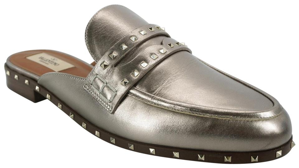 a18a993a37f Valentino Silver Argento Leather Soul Rockstud Penny Loafer Mules Slides