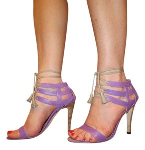 Manolo Blahnik Lace Laces Lacing Ankle Tie Lilac Sandals
