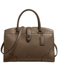 Coach Mercer 30 Leather 37575 Satchel in Fatique