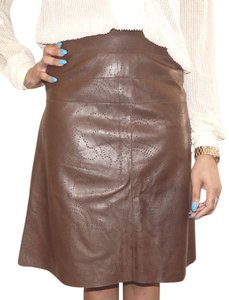 Chanel Hi Lo Perforated Leather Skirt Brown