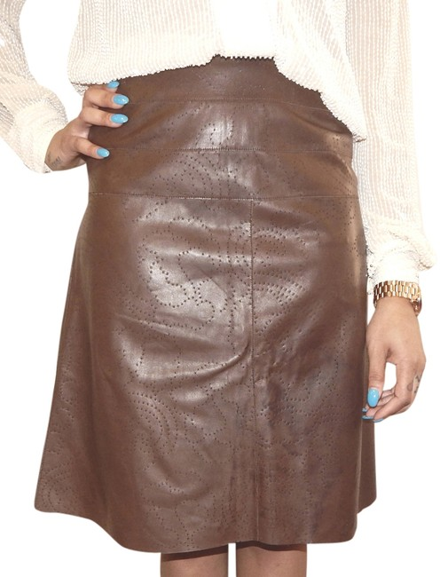 Chanel Hi Lo Perforated Leather Lambskin Skirt Brown