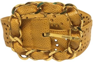 Chanel Chanel - Leather Perforated Belt - Yellow