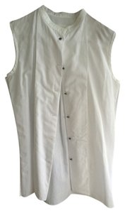 cacharel Colorless Tuxedo Style Button Down Shirt white