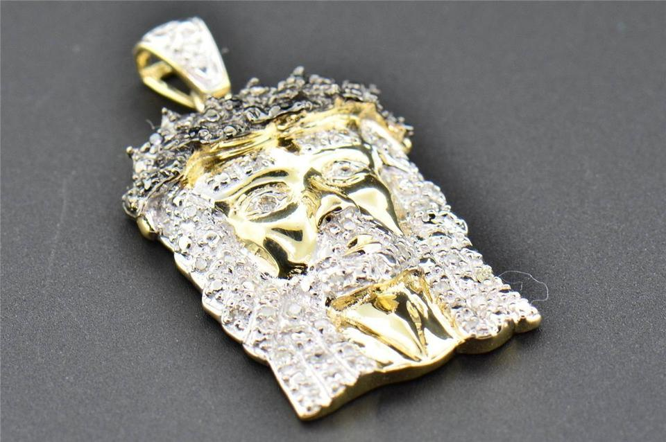 Jewelry for less yellow gold 10k black diamond jesus piece head 12345678 aloadofball Images