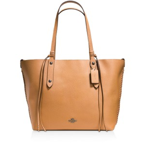 Coach Market Pebbled Leather Whiplash Tan Tote in Light Saddle