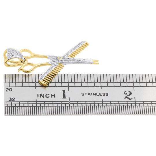 Jewelry For Less 10K Yellow Gold Diamond Comb and Scissors Barber Pendant Charm 0.30 CT Image 3