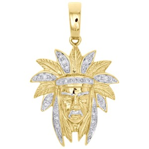 Jewelry For Less 10K Yellow Gold Real Diamond Native American Indian Mens Charm 1/4 CT