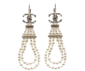Chanel Chanel Gold CC Faux Pearl Loop Lever Back Earrings