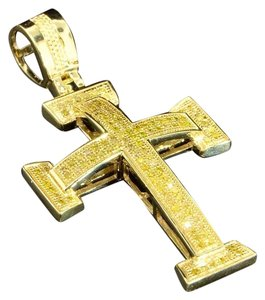 Jewelry For Less 10K Yellow Gold Yellow Diamond Cross Jesus Pendant Domed Charm .40 ct