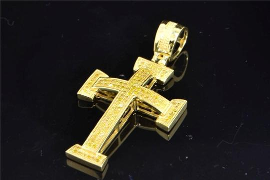 Jewelry For Less 10K Yellow Gold Yellow Diamond Cross Jesus Pendant Domed Charm .40 ct Image 1