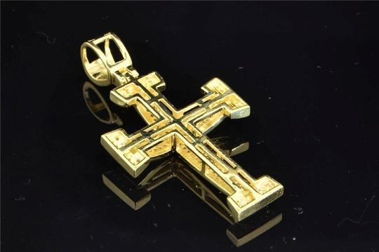 Jewelry For Less 10K Yellow Gold Yellow Diamond Cross Jesus Pendant Domed Charm .40 ct Image 2