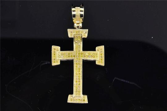 Jewelry For Less 10K Yellow Gold Yellow Diamond Cross Jesus Pendant Domed Charm .40 ct Image 4