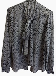 Michael Kors Button Button-up Button-down Monogram Mk Work Dressy Casual Top Navy Blue & White