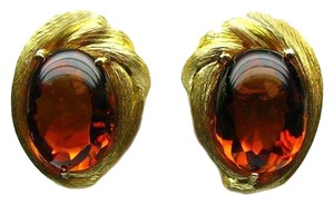 Henry Dunay Designs Rare Amber Yellow Gold Pair Of Ear Clips