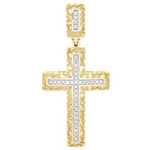 Jewelry For Less 10K Yellow Gold Real Diamond Nugget Border Cross Pendant Charm 0.16 CT
