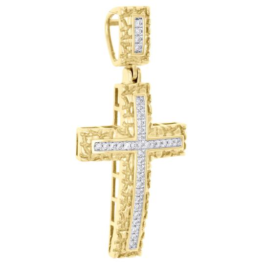 Jewelry For Less 10K Yellow Gold Real Diamond Nugget Border Cross Pendant Charm 0.16 CT Image 1
