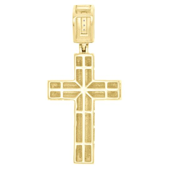 Jewelry For Less 10K Yellow Gold Real Diamond Nugget Border Cross Pendant Charm 0.16 CT Image 2