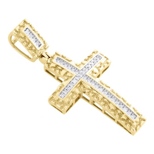 Jewelry For Less 10K Yellow Gold Real Diamond Nugget Border Cross Pendant Charm 0.16 CT Image 3