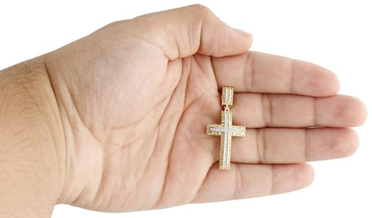 Jewelry For Less 10K Yellow Gold Real Diamond Nugget Border Cross Pendant Charm 0.16 CT Image 5