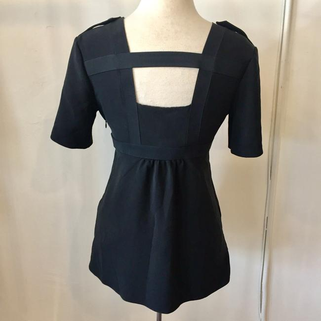 Burberry Silk Open Straps Buttons Top Black Image 2