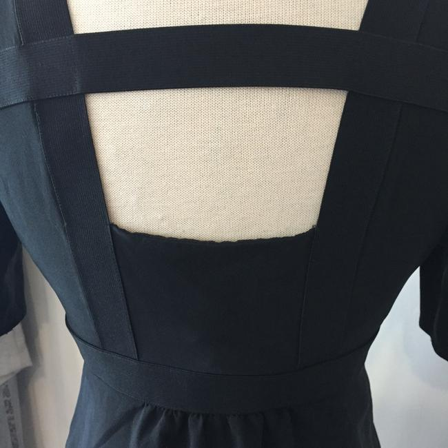 Burberry Silk Open Straps Buttons Top Black Image 5