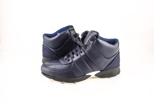 Chanel * Navy Calfskin/Satin Sneakers Shoes Image 0