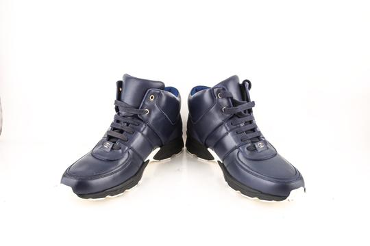 Chanel * Navy Calfskin/Satin Sneakers Shoes Image 5